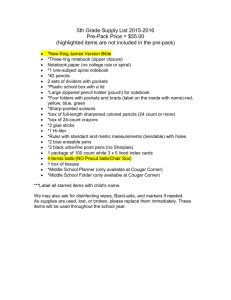 5th Grade Supply List 2015-2016