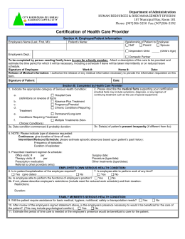 Certifcation of Health Care Provider