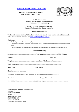 Vets Entry Form - Goulburn Golf Club