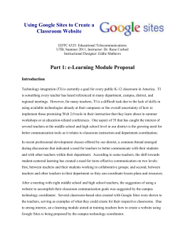 Using Google Sites to Create a Classroom Website