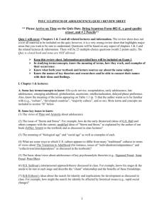 psyc 112 (psych of adolescence) quiz 1 review sheet