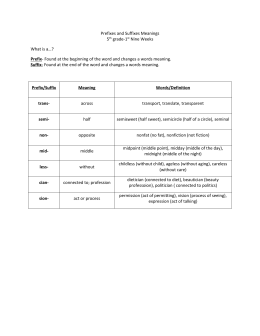 Prefixes and Suffixes Meanings