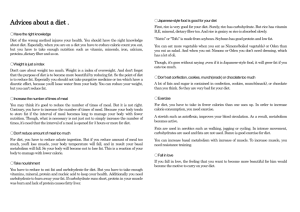 Advices about a diet