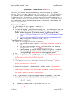 Limiting Reagent And Percent Yield Worksheet 012 - Limiting Reagent And Percent Yield Worksheet