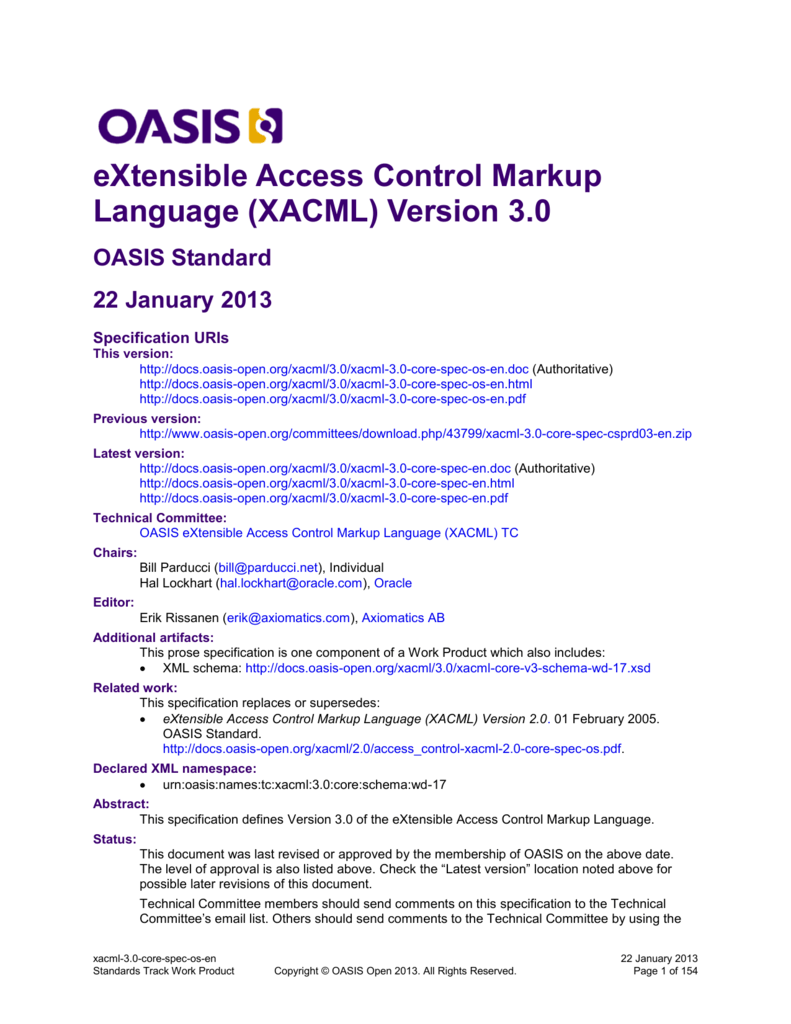 3f79d58e277 eXtensible Access Control Markup Language (XACML) Version 3.0