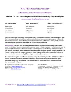 NYU POSTDOCTORAL PROGRAM IN PSYCHOTHERAPY AND