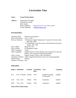 Curriculum Vitae Princess Sumaya University For Technology