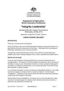 Integrity Leadership - Australian Commission for Law Enforcement