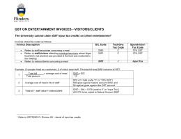 GST on Entertainment Invoice for Visitors Clients