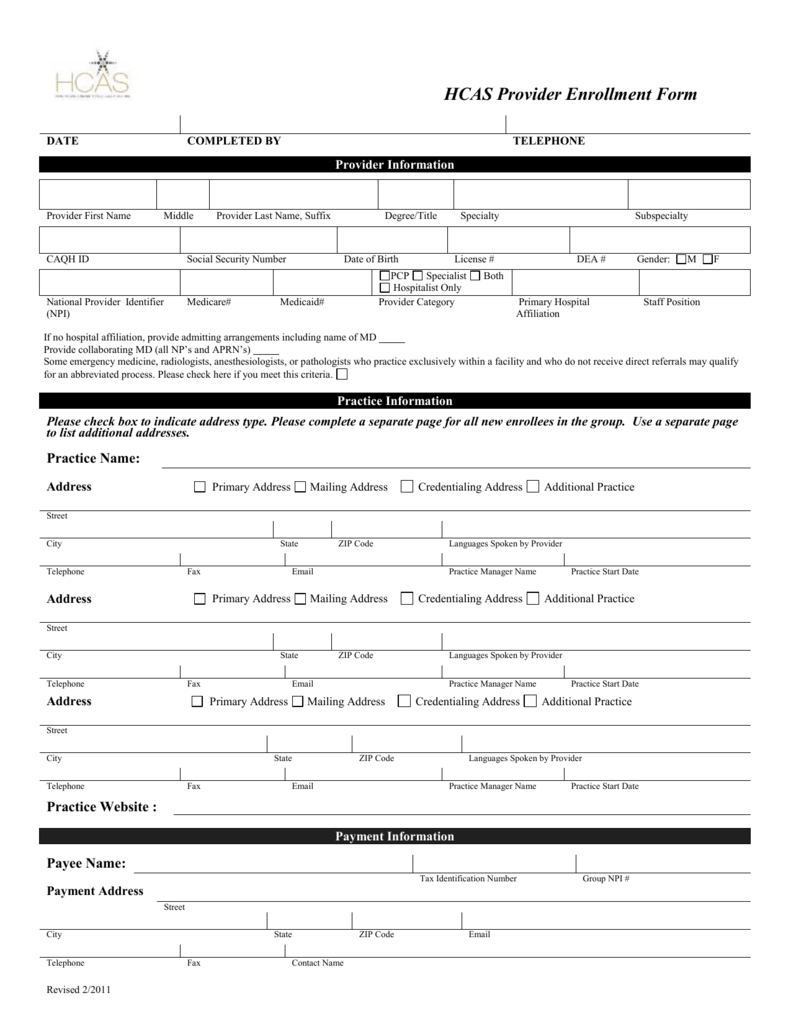 HCAS Provider Enrollment Form