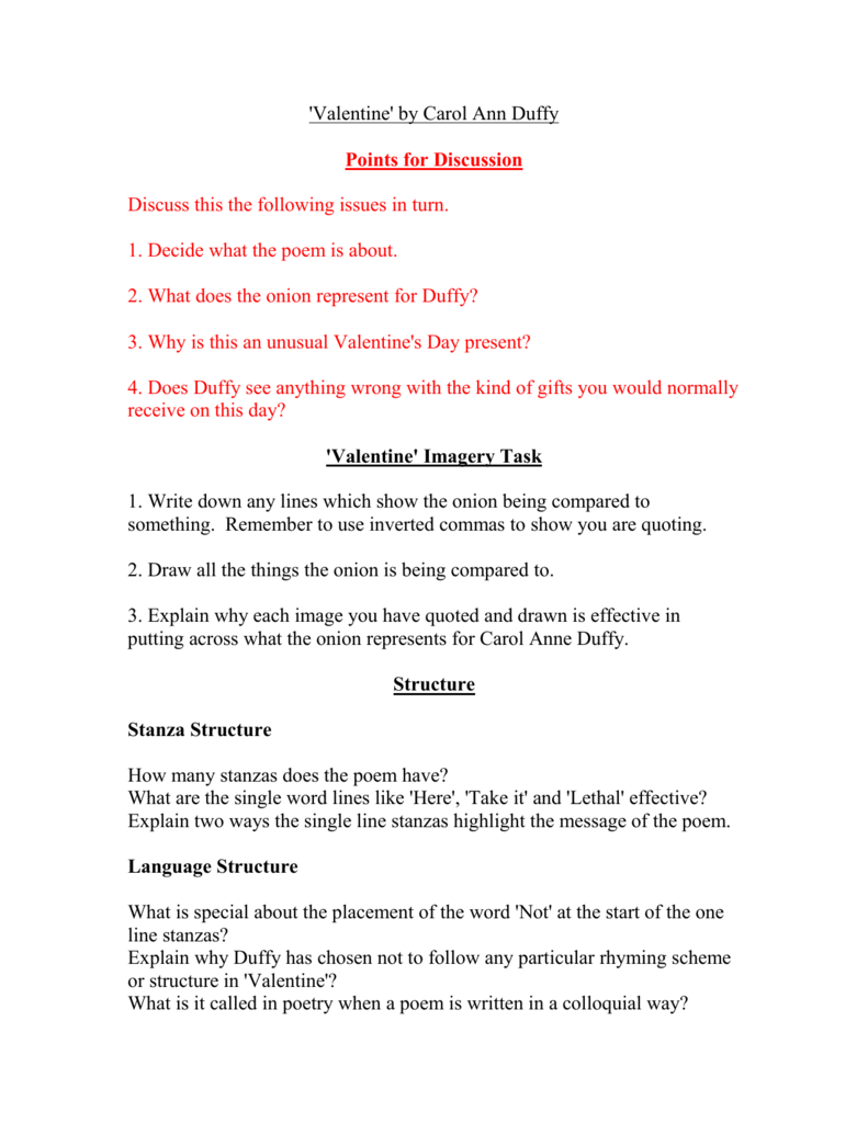 valentine poem by carol ann duffy analysis