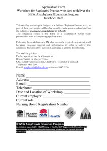 Application form for workshop for Registered Nurses who seek