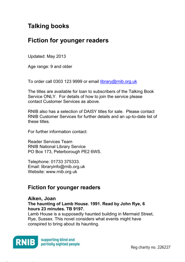 Fiction For Ages 9 And Older In Braille Word 200kb
