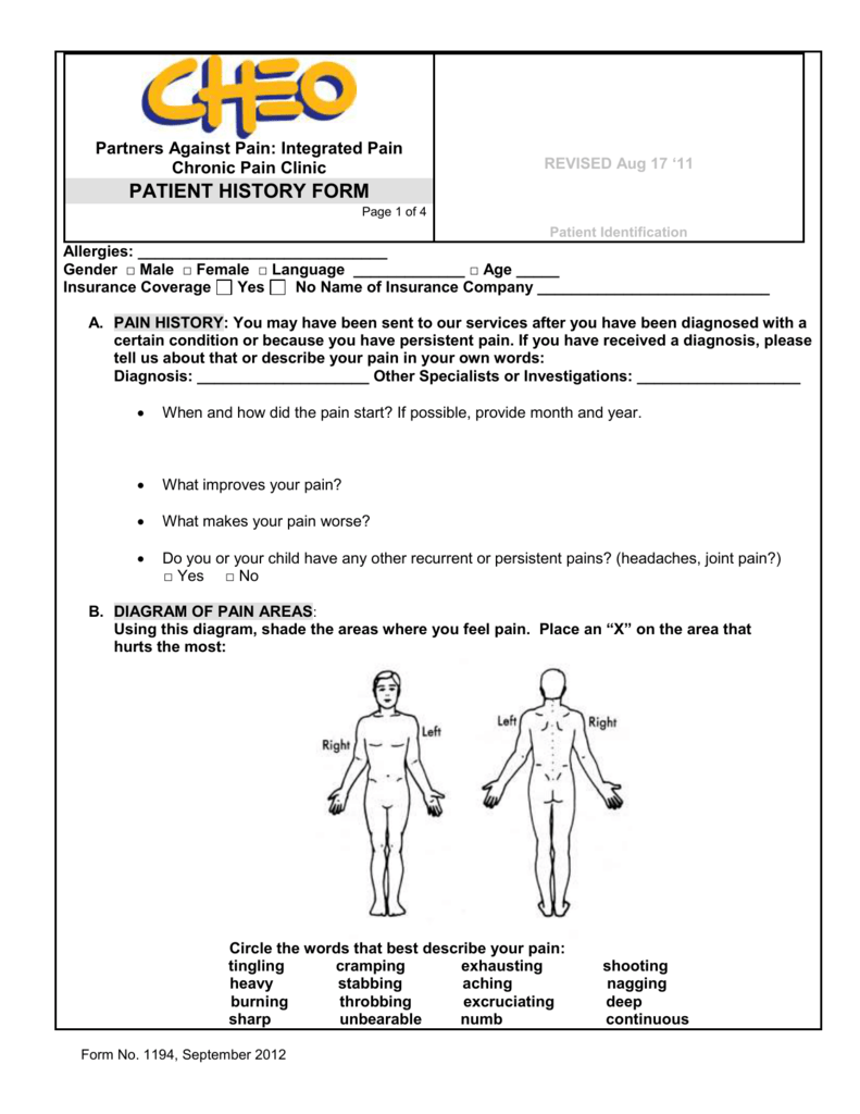 partners against pain: integrated pain chronic pain clinic revised aug 17  '11 patient history form page 1 of 4 patient identification allergies: