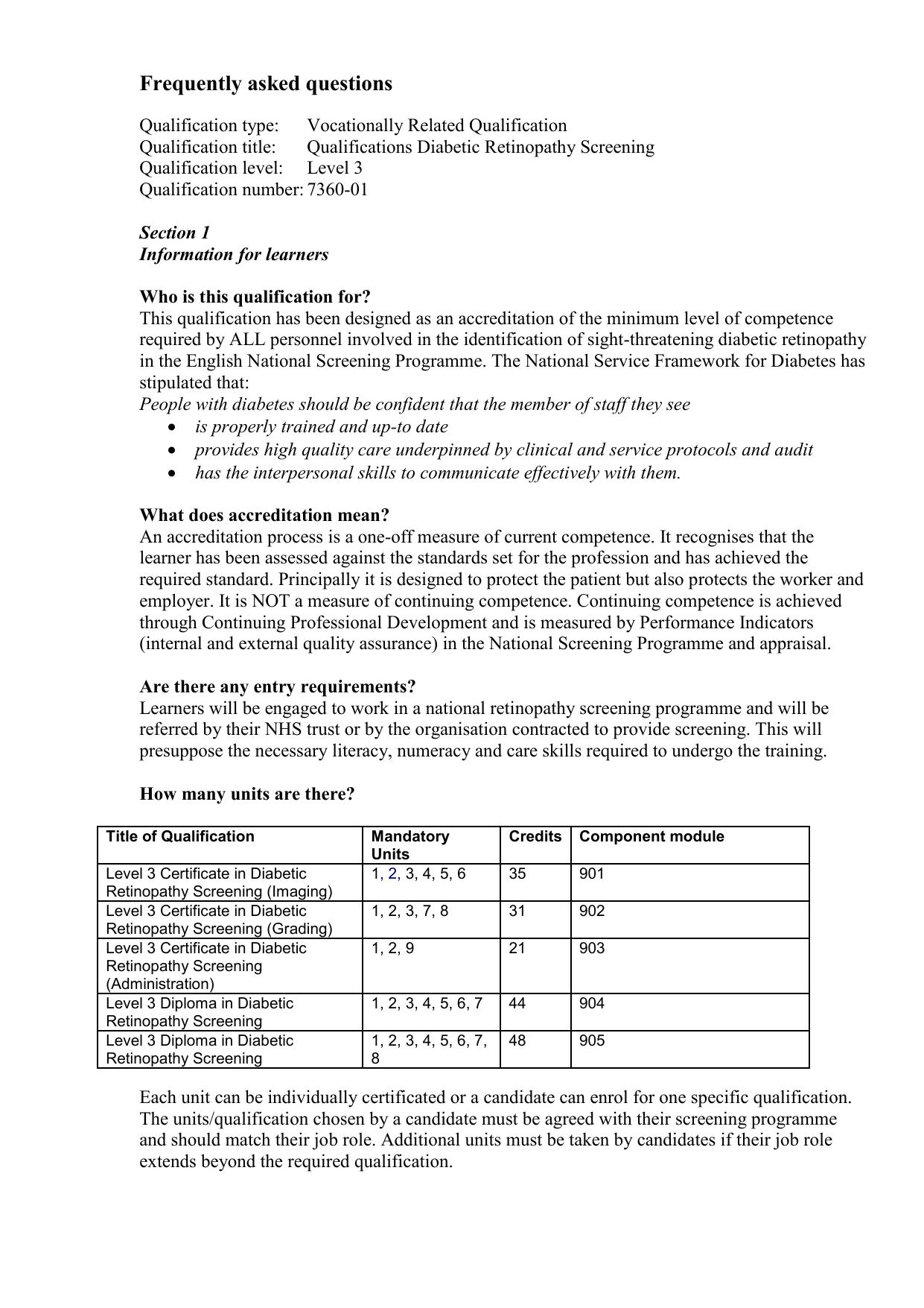 Template Qualifications In Diabetic Retinopathy Screening