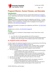 Pregnant Women, Human Fetuses, and Neonates