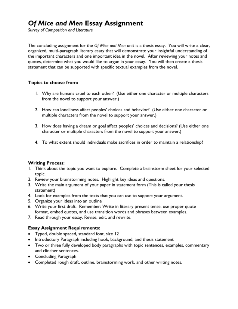 Essay Format Example For High School  Thesis For Argumentative Essay Examples also Essay Term Paper Of Mice And Men Essay Assignment Essays Topics For High School Students
