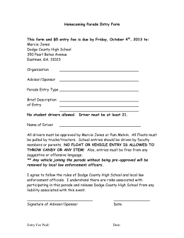 Homecoming Parade Entry Form