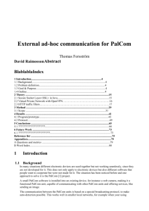 External ad-hoc communication for PalCom Thomas Forsström