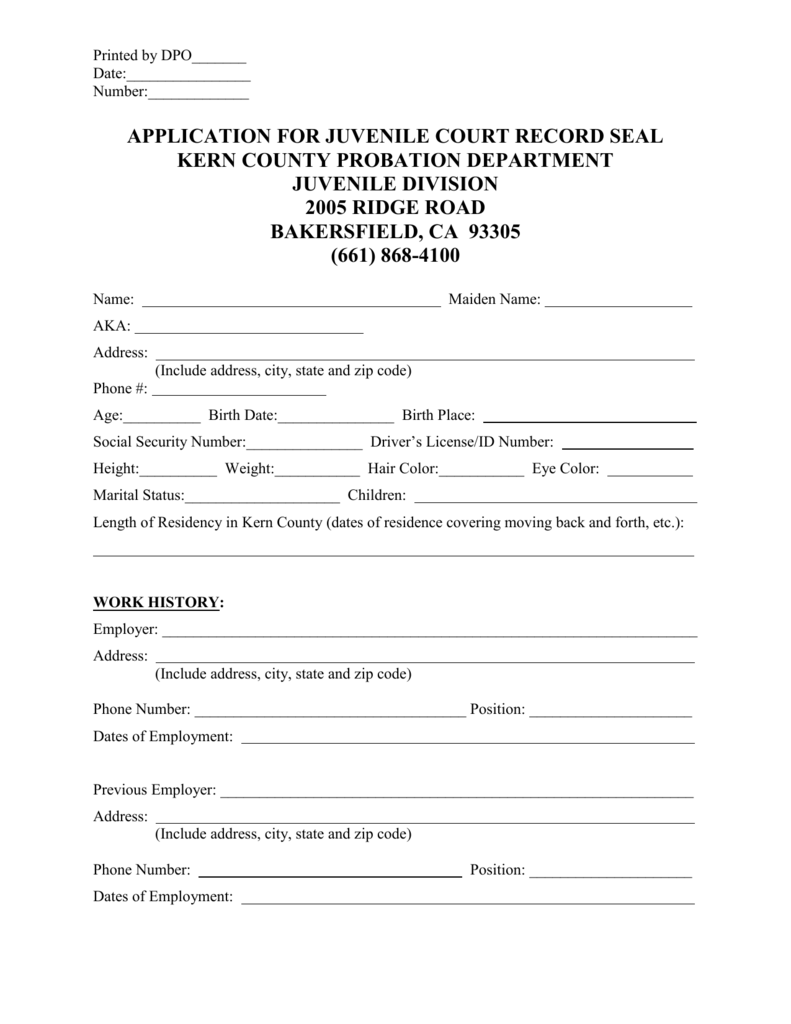 application for juvenile court record seal