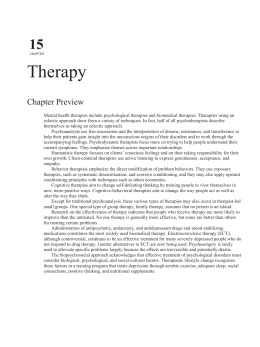15 CHAPTER Therapy Chapter Preview Mental health therapies