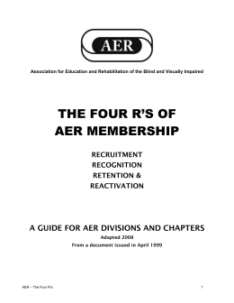 The Four R`s - AER Leadership - Association for Education and