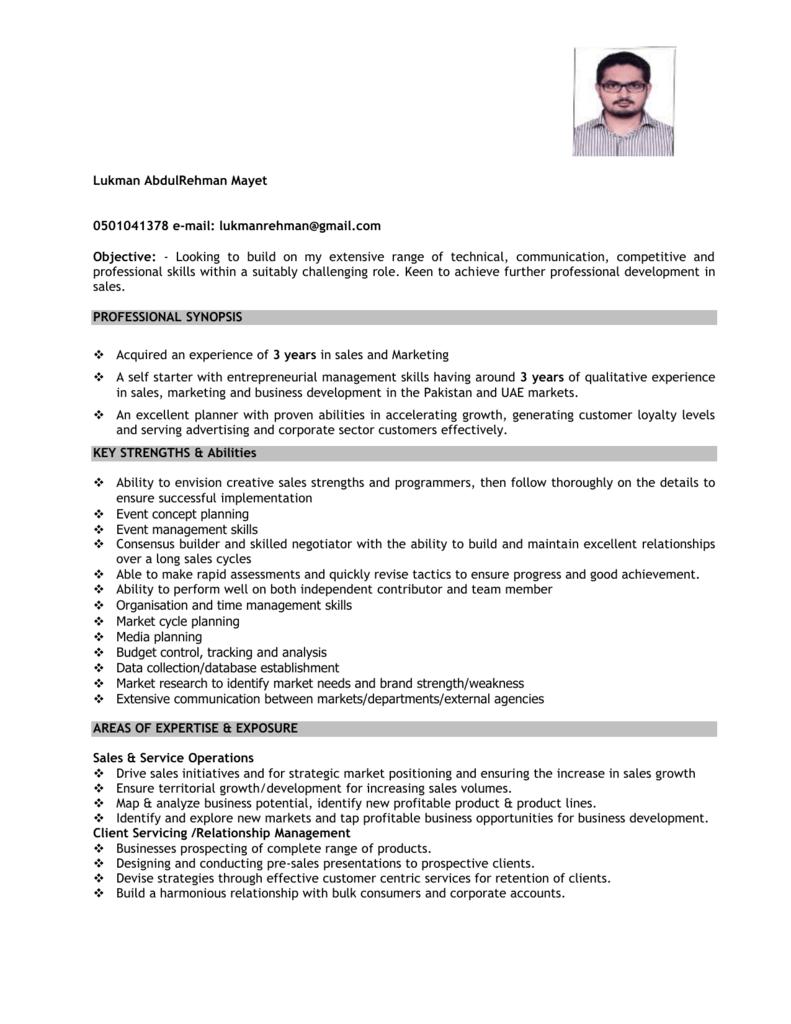 sample cv junier sales professional