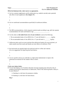 Worksheet for adolescence chapter 14