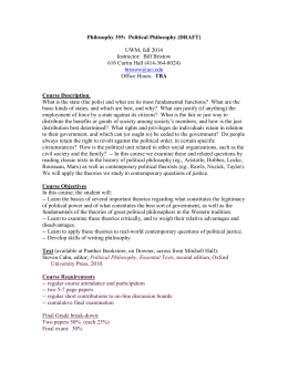 1 Philosophy 355: Political Philosophy (DRAFT) UWM, fall 2014