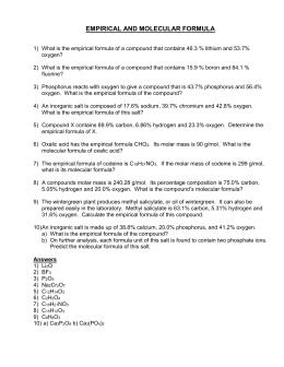 Empirical and molecular formula worksheet doc