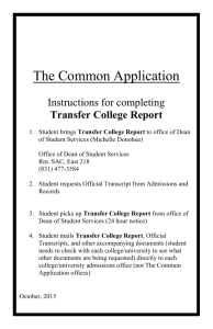 "Common Application - Instructions for ""Transfer"