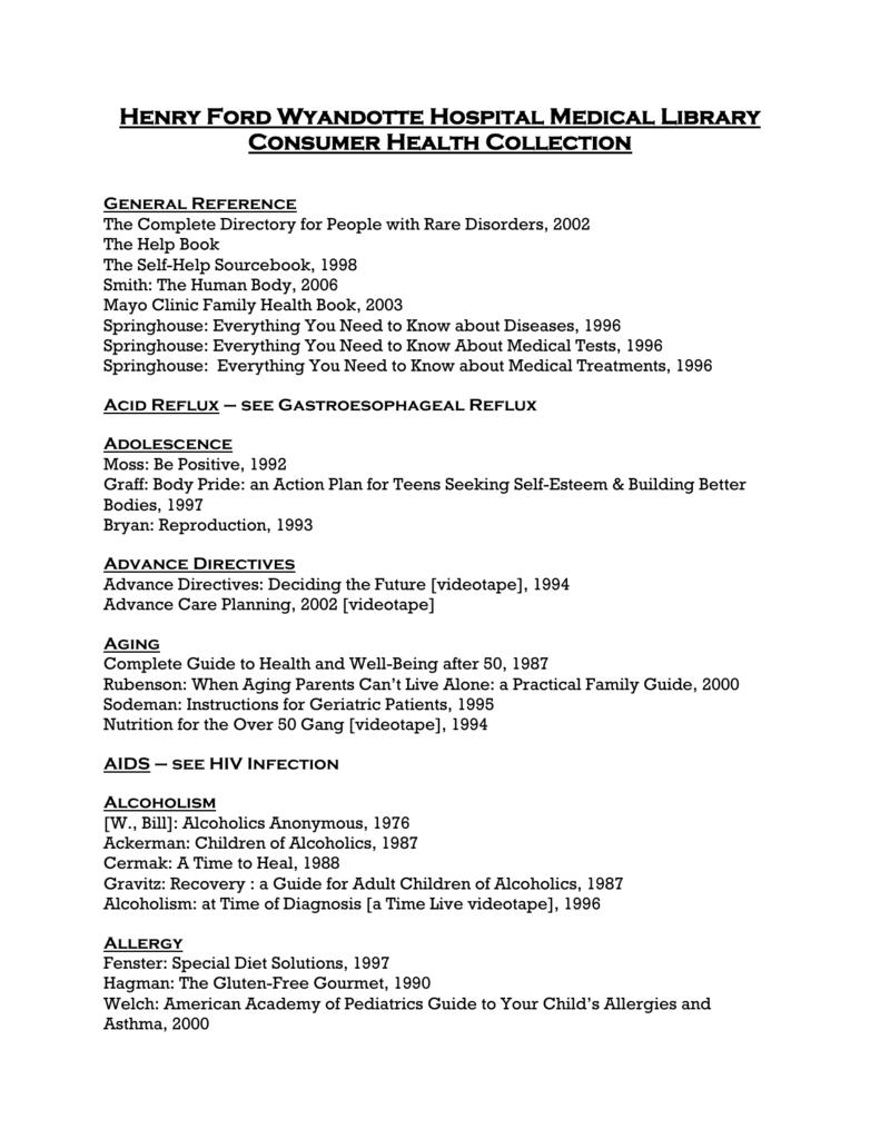 Consumer Health Collection
