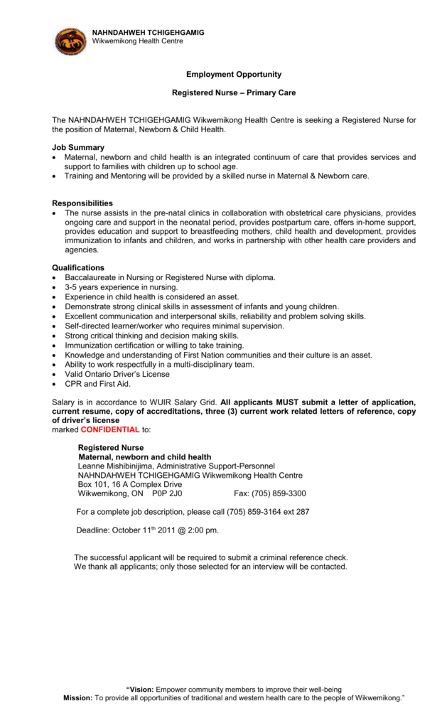 Maternal Newborn Child Health Nurse Employment Opportunity