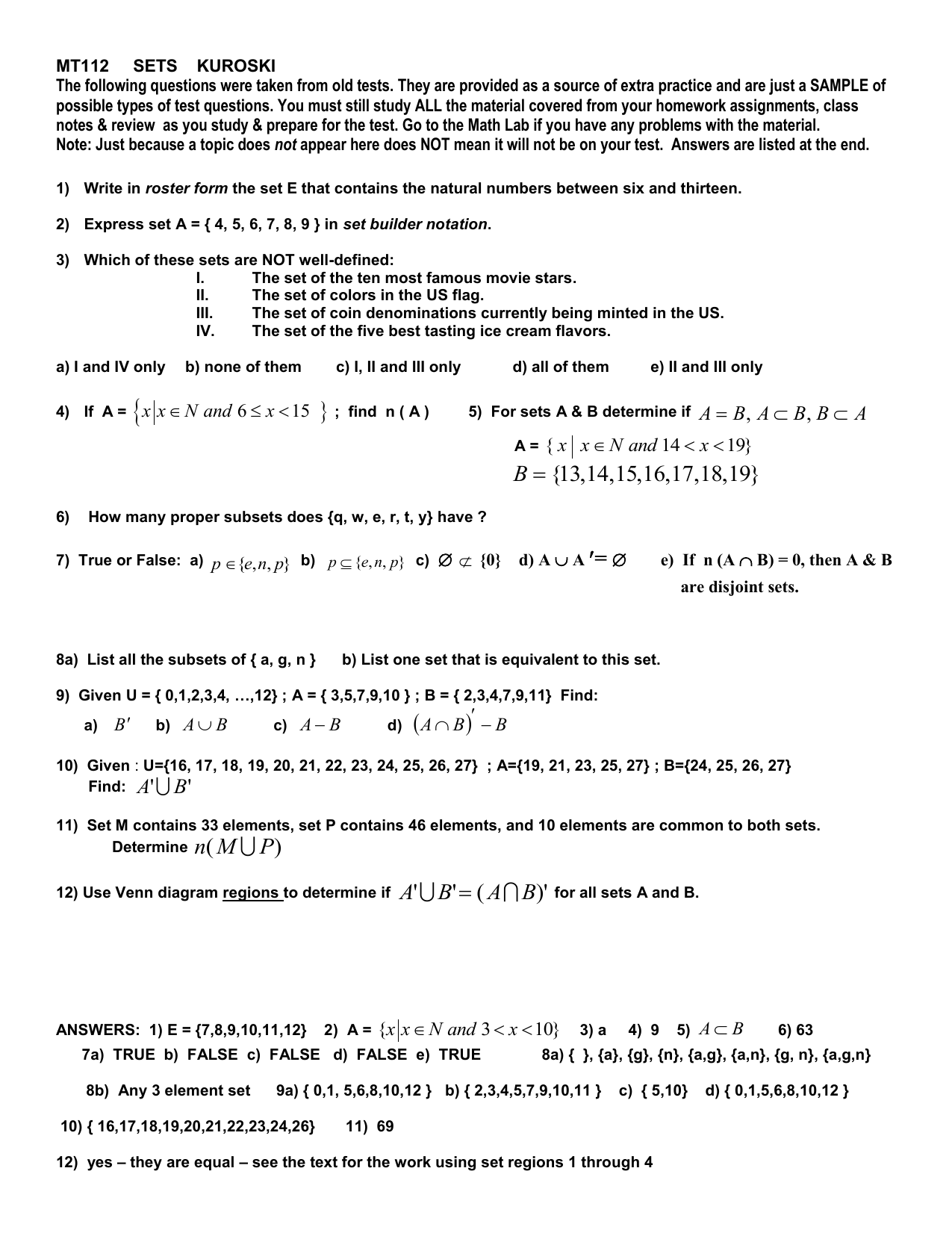 worksheet Set Builder Notation Worksheet old test questions