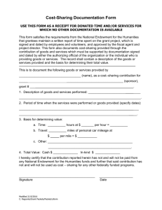Documentation Form For Cost-Sharing