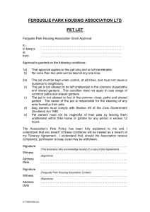 Pet Let Application Form - Ferguslie Park Housing Association