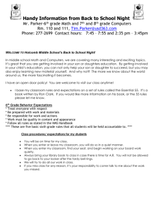 Information to Keep Handy from Back to School Night