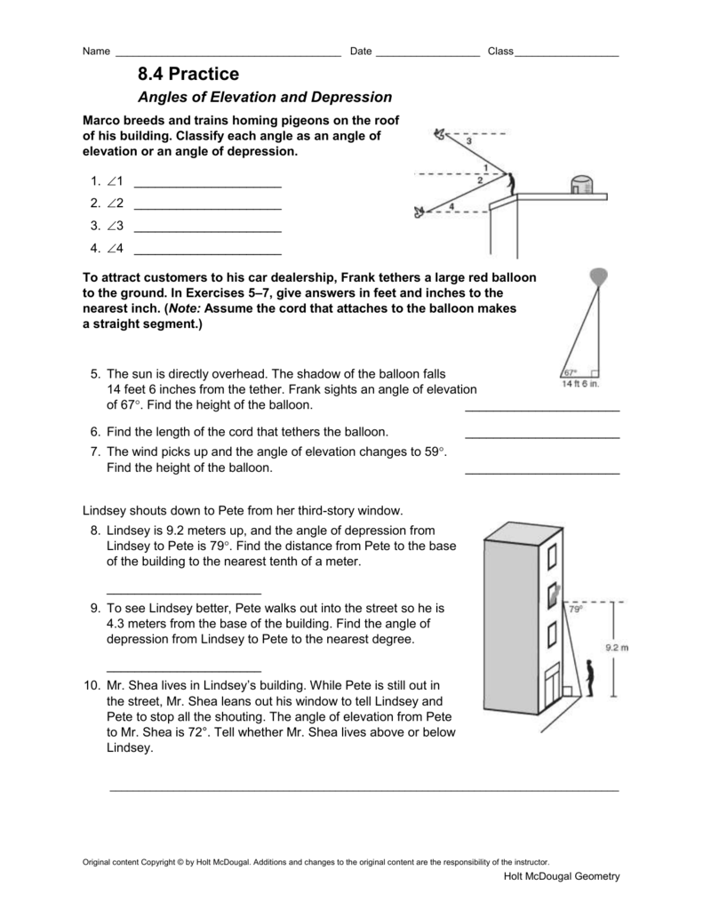 worksheet 8 4 Angles Of Elevation And Depression Worksheet Answers copyright by holt rinehart and winston