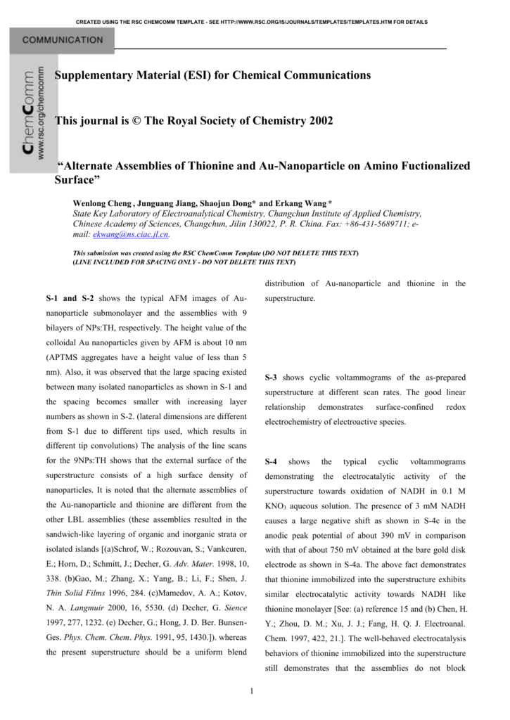 RSC ChemComm Template (PC) - Royal Society of Chemistry