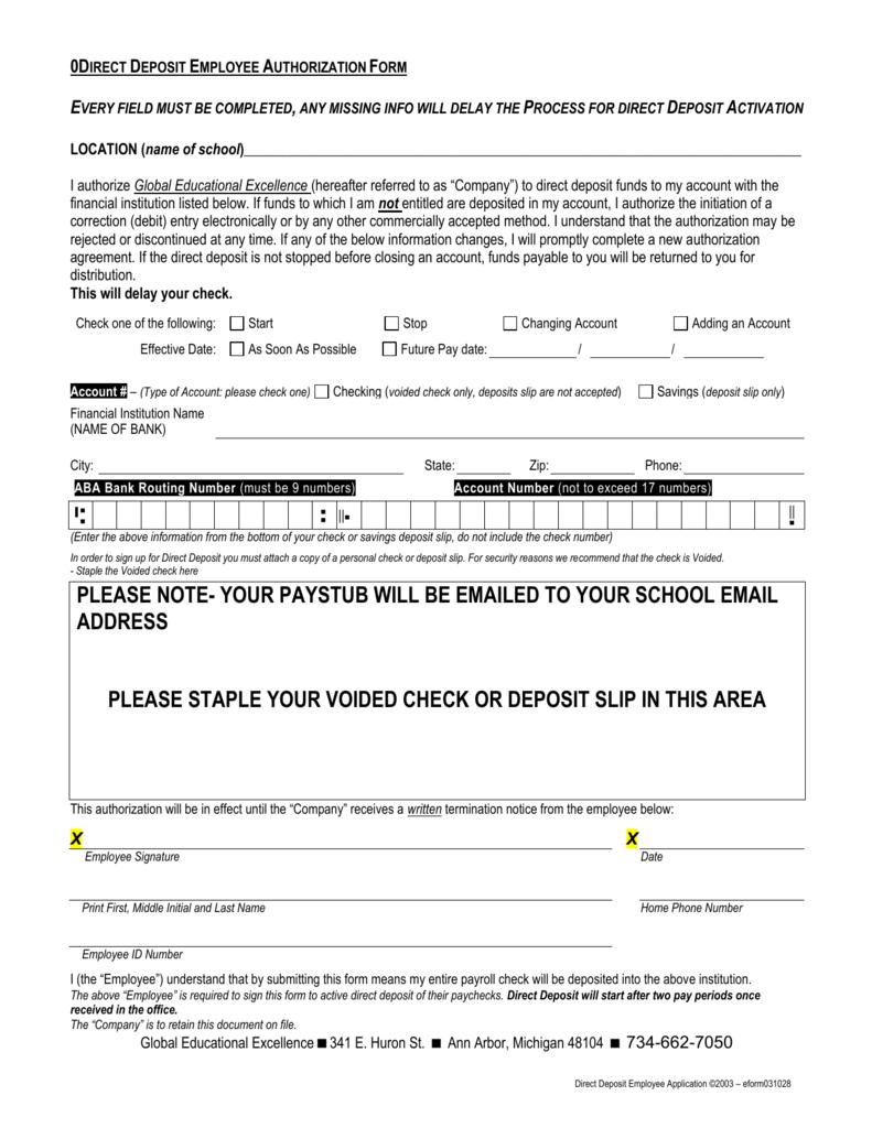 Sample - Direct Deposit Employee Authorization Form