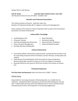 sample resume for culinary arts student - culinary arts