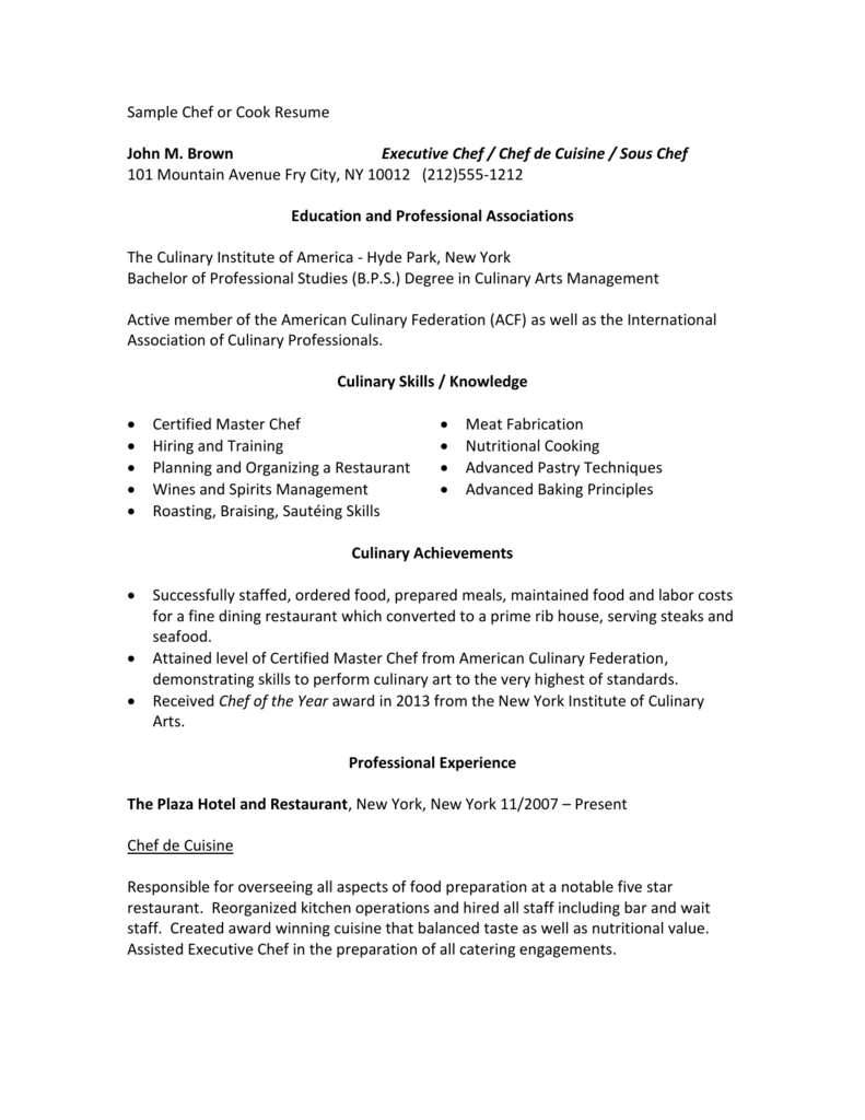 Sample Chef Resume Money