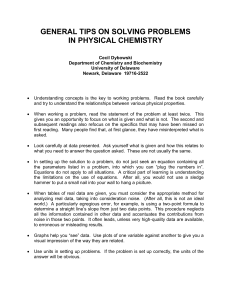 Physical Chemistry Problem-Solving Tips