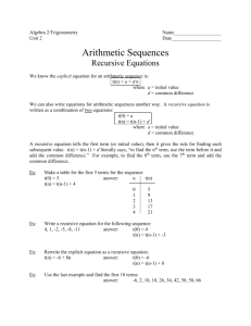 Arithmetic Recursive and Explicit worksheet