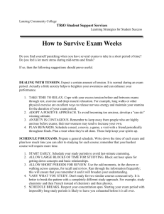Study Skills - Surviving Exam Weeks