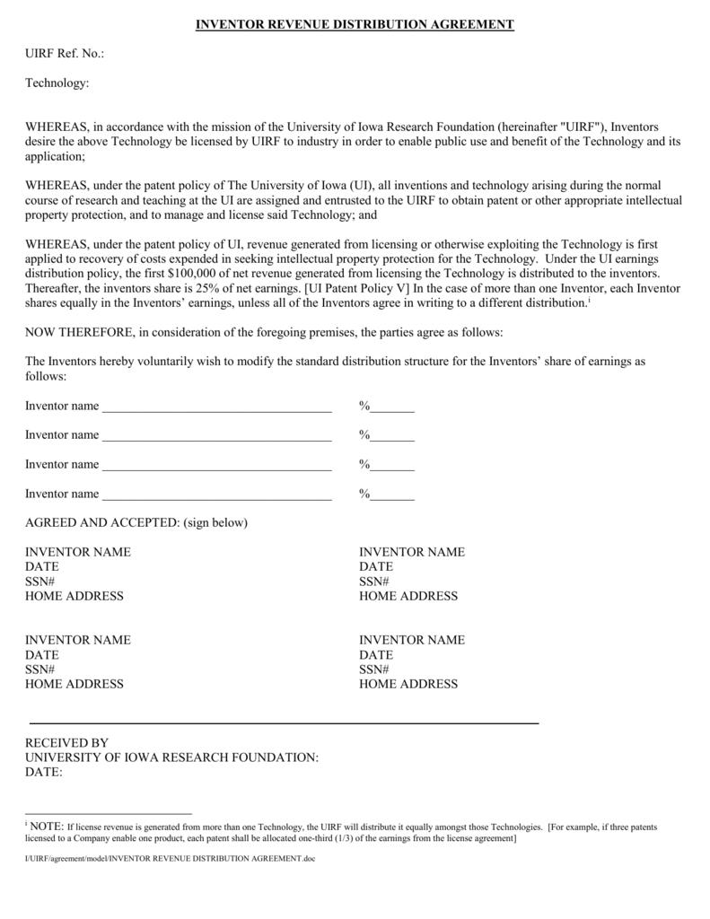 Inventor Revenue Distribution Agreement Form