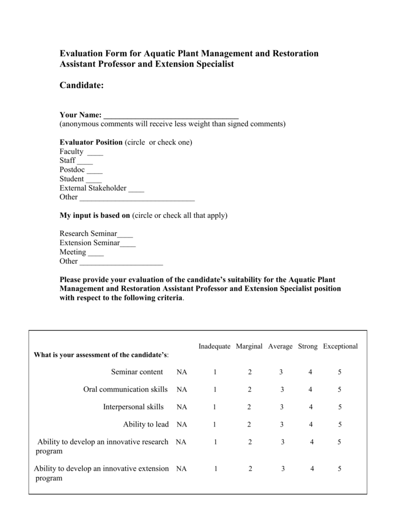 100 Student Evaluation Form – Meeting Evaluation Form