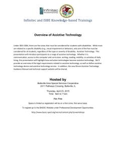 Infinitec and ISBE Knowledge-based Trainings Overview of Assistive