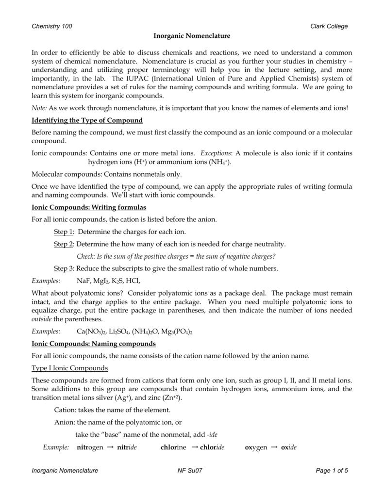 worksheet Inorganic Nomenclature Worksheet inorganic nomenclature handout