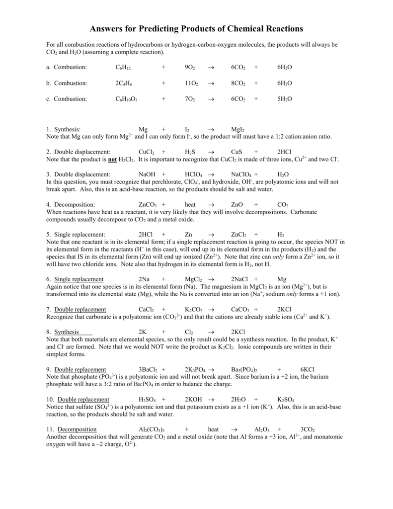 worksheet Double Replacement Reactions Worksheet answers for predicting products of chemical reactions